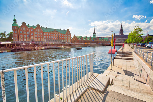 Copenhagen, Denmark-August 1, 2018: Scenic historic old city streets and river canals