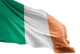 Ireland flag waving isolated white background 3D illustration