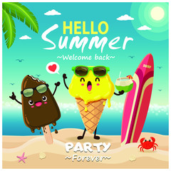 Vintage summer poster design with vector ice cream characters.