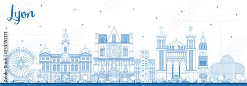Outline Lyon France City Skyline with Blue Buildings.