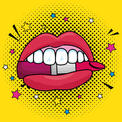 fashion mouth with teeth and lipstick patch