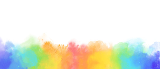 Rainbow watercolor border background isolated on white © Taiga