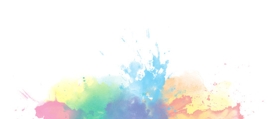Rainbow watercolor colorful border background isolated on white © Taiga