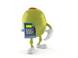 Olive character holding credit card reader
