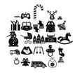 Toy icons set. Simple set of 25 toy vector icons for web isolated on white background