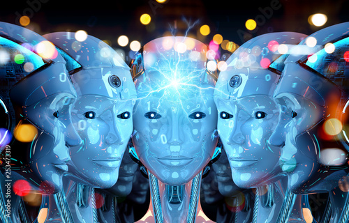 Leinwanddruck Bild Group of female robots heads creating digital connection 3d rendering