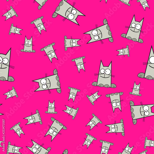 obraz lub plakat Seamless pattern of cats in cartoon style