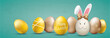 Golden Happy Easter Eggs Hare Ears Green Vintage Header Ostern