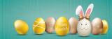Golden Happy Easter Eggs Hare Ears Green Vintage Header Ostern