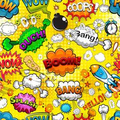 Comic speech bubbles seamless pattern on yellow background illustration