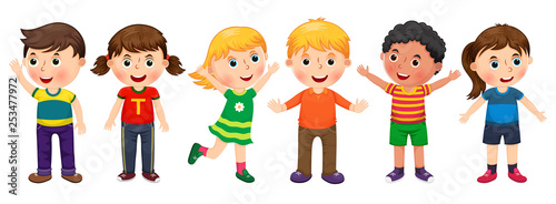 Children in different positions illustration - 253477972