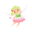 Cute Little Winged Fairy, Beautiful Girl Character in Fairy Costume with Magic Wand Vector Illustration