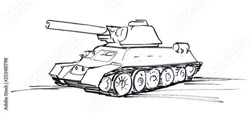 Black and white linear sketch of an abstract tank with a cannon and caterpillars. Hand- © Olga