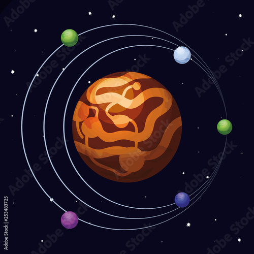 space with mars planet universe scene © djvstock