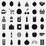 Fruit and drink icons set. Simple style of 36 fruit and drink vector icons for web for any design
