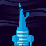 statue of liberty structure isolated icon