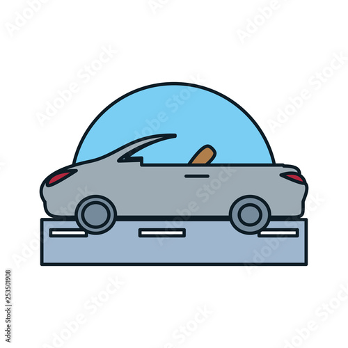 car convertible in road isolated icon - 253501908