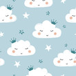 Seamless cute cartoon clouds pattern. Baby print.