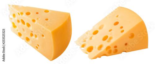 Hard cheese pieces isolated on white background © kovaleva_ka