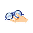 hand with optical eyeglasses isolated icon