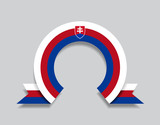 Slovak flag rounded abstract background. Vector illustration.