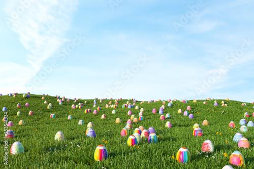 Leinwanddruck Bild Viele Ostereier auf Wiese zu Ostern