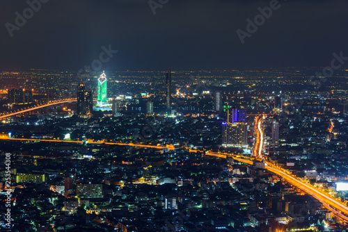 high view of city in night time
