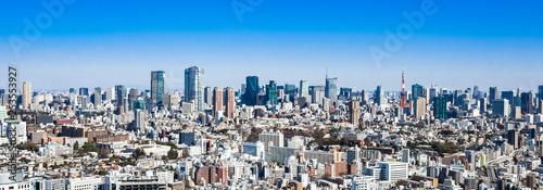 obraz PCV 東京 青空と都市風景 ワイド