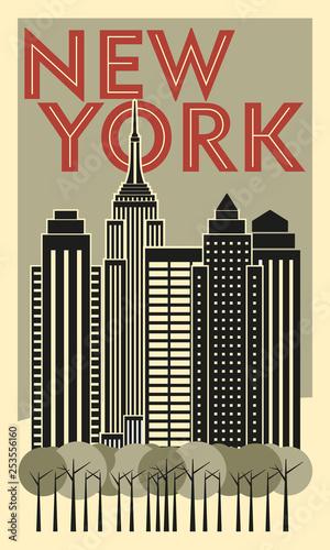 Tourist poster New York. Retro postcard. Vector drawing - 253556160