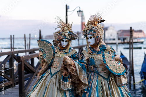 obraz lub plakat Costumed couple during Carnival in Venice