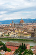 Panaromic view of Florence townscape cityscape viewed from Piazzale Michelangelo (Michelangelo Square) with magnificent Renaissance dome designed by Filippo Brunelleschi