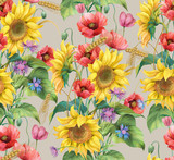 Flowers and ears. Sunflower, cornflower, poppy and barley seamless background pattern. Version 5