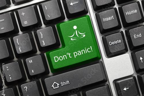 Conceptual keyboard - Do not panic (green key) - 253568773