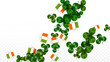 Vector Clover Leaf  and Ireland Flag Isolated on Transparent Background. St. Patrick's Day Illustration. Ireland's Lucky Shamrock Poster. Invitation for Irish Concert in Pub. Tourism in Ireland. - 253572597