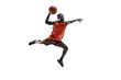 Leinwanddruck Bild - Full length portrait of a basketball player with a ball isolated on white studio background. advertising concept. Fit african anerican athlete jumping with ball. Motion, activity, movement concepts.