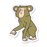 sticker of a cartoon chimpanzee
