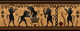 Ancient greek painting.Pottery art.Stylized ancient greek background. Mediterranean culture.Deities and heros of antique greece.