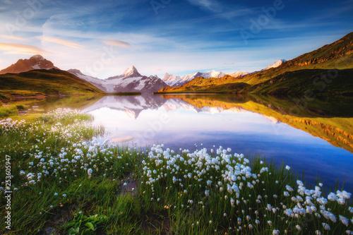 Leinwandbild Motiv Captivating scene of the snow rocky massif. Location place Bachalpsee in Swiss alps.