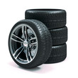 Leinwanddruck Bild - 3d tires and alloy wheels on white background