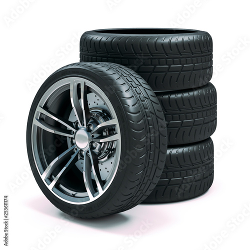 Leinwanddruck Bild 3d tires and alloy wheels on white background