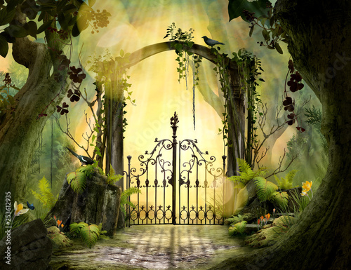 Archway in an enchanted garden Landscape with big old trees - 253612935