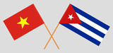 Cuba and Vietnam. The Cuban and Vietnamese flags. Official colors. Correct proportion. Vector