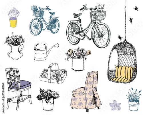 A very cute set of vintage stuff. Black and white drawing. Patterns and elements.