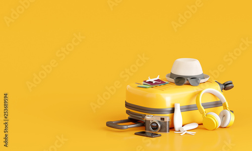Leinwandbild Motiv Suitcase with traveler accessories on yellow background. travel concept. 3d rendering