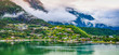 Panoramic landscape view of Eidfjord, Norway.