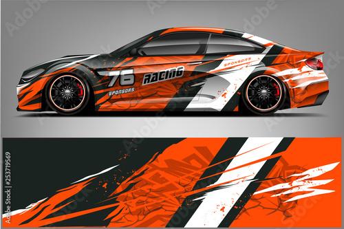 Sport car racing wrap design. vector design. - Vector  - 253719569