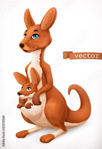 Kangaroo cartoon character. Funny animal, 3d vector icon