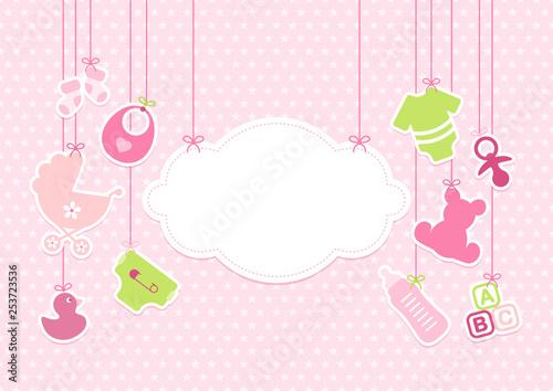 Hängende Babyicons Mädchen Wolke Sterne Pink © Jan Engel