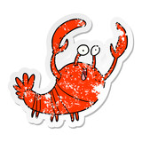 distressed sticker of a cartoon lobster