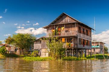 A house on bamboo sticks in Inle Lake, Myanmar (Burma). © Cezary Wojtkowski